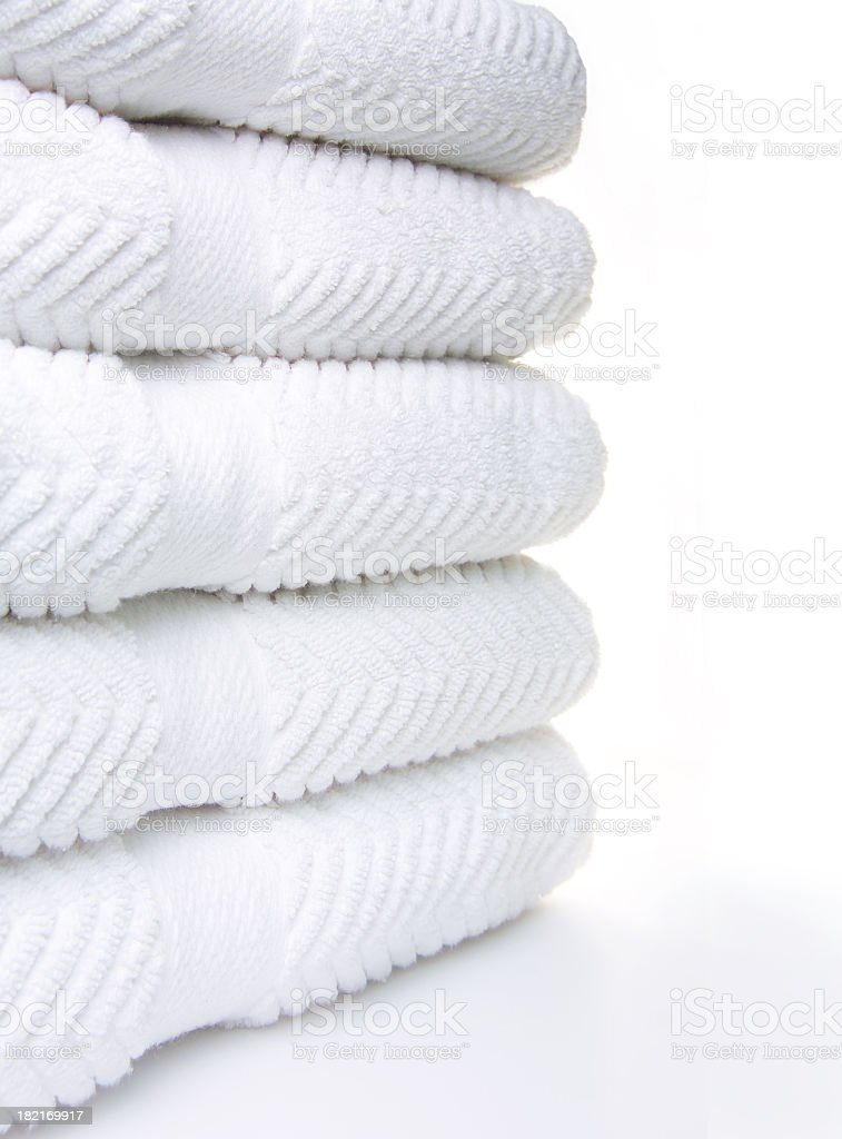 clean white towels stock photo