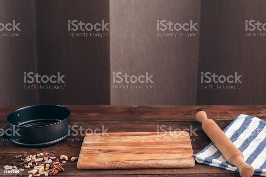 Clean workplace of baker with tools free space stock photo