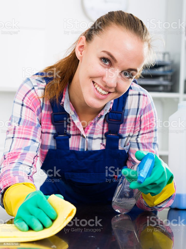 cleaner girl working stock photo
