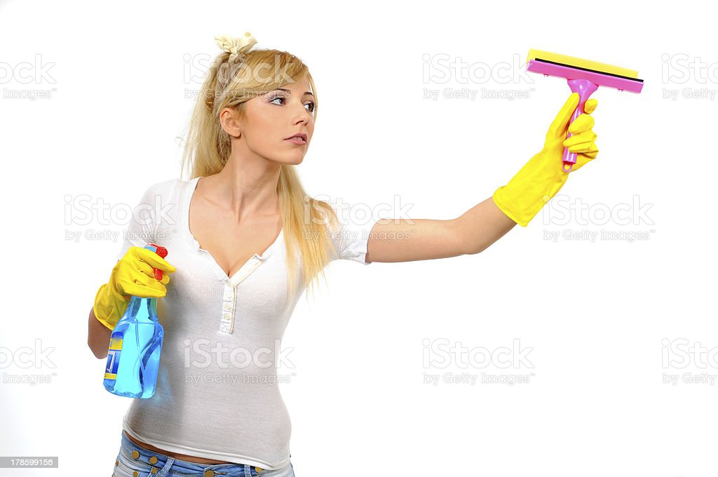 cleaner woman washing a window stock photo