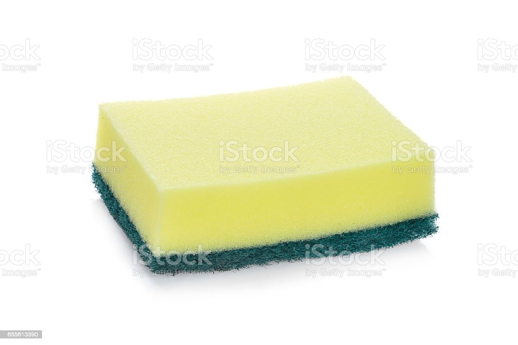 cleaners, detergents, household cleaning sponge for cleaning isolated on white background stock photo