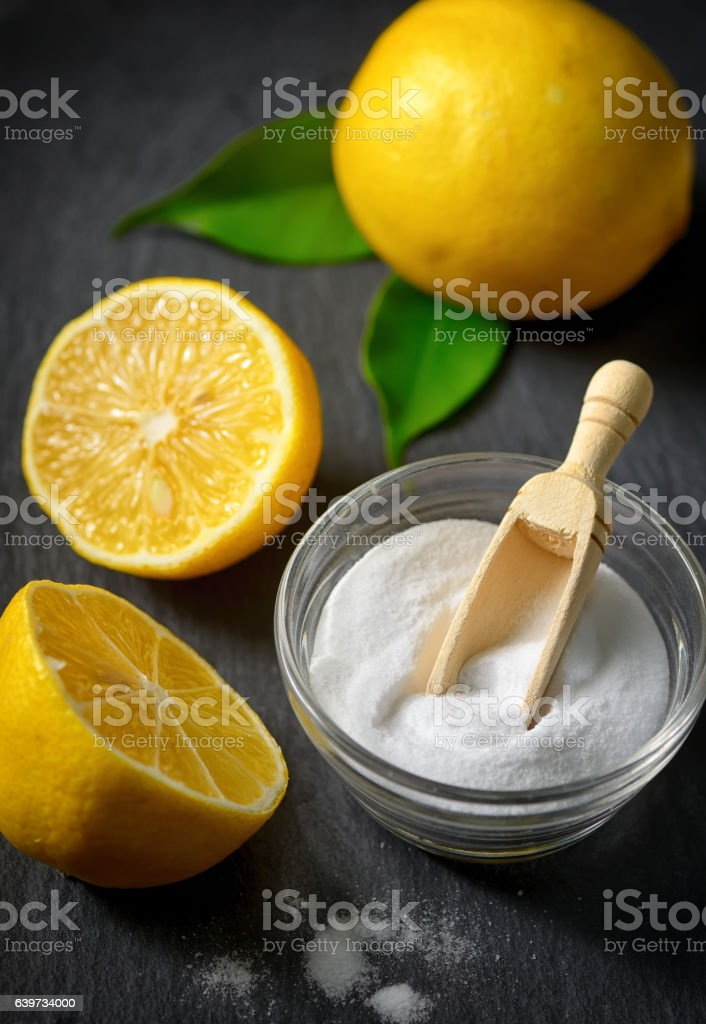 Cleaners with baking soda and lemon stock photo