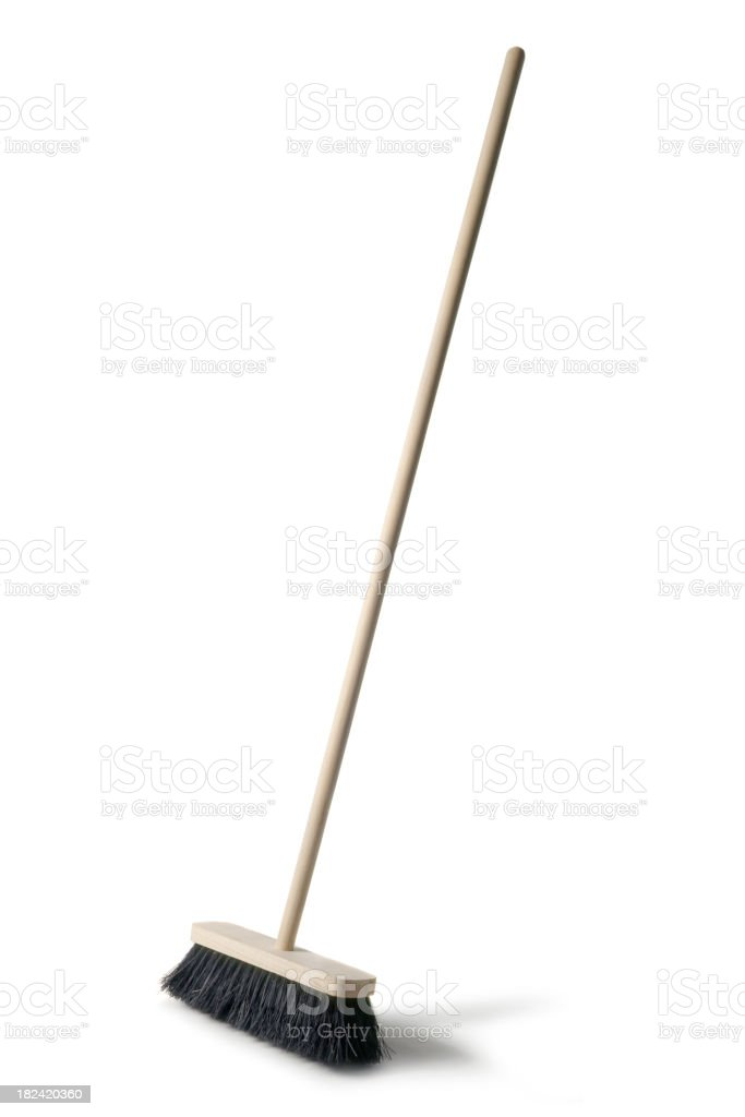 Cleaning: Broom Isolated on White Background stock photo