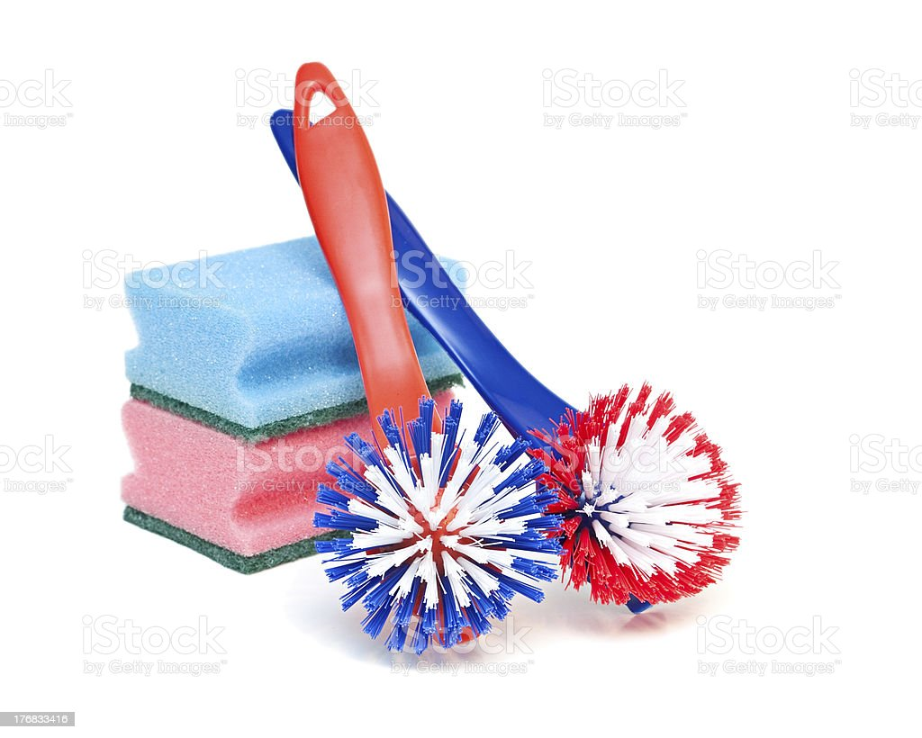 Cleaning brushes and kitchen sponges stock photo