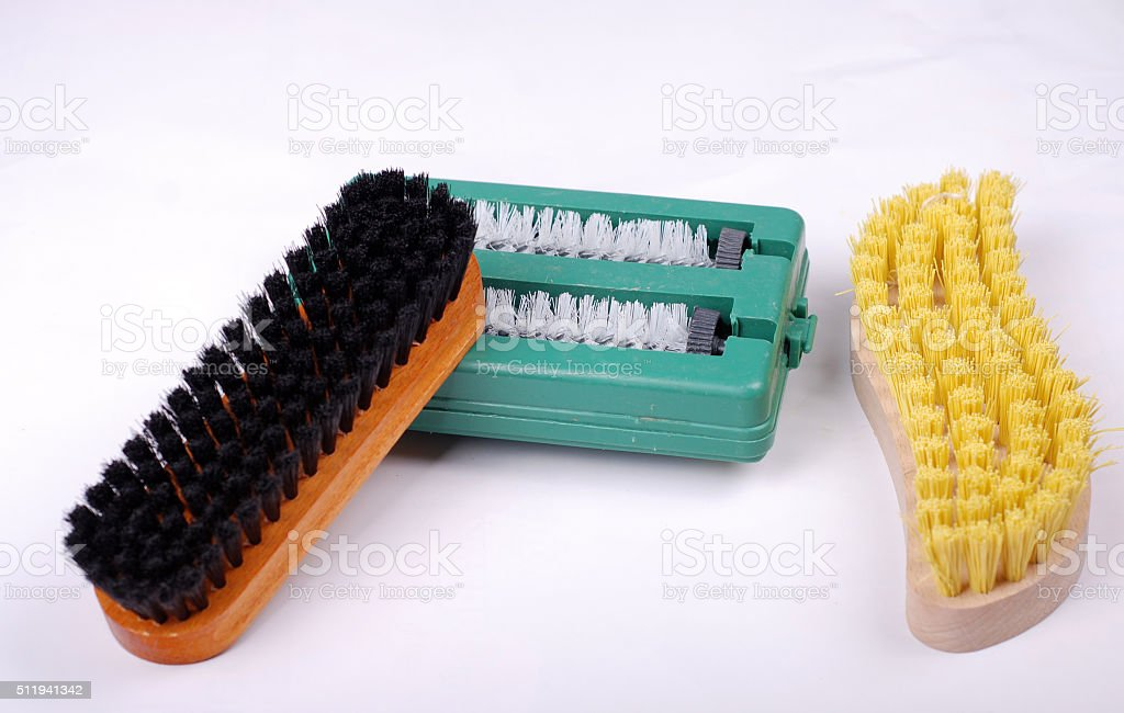 Cleaning brushes stock photo