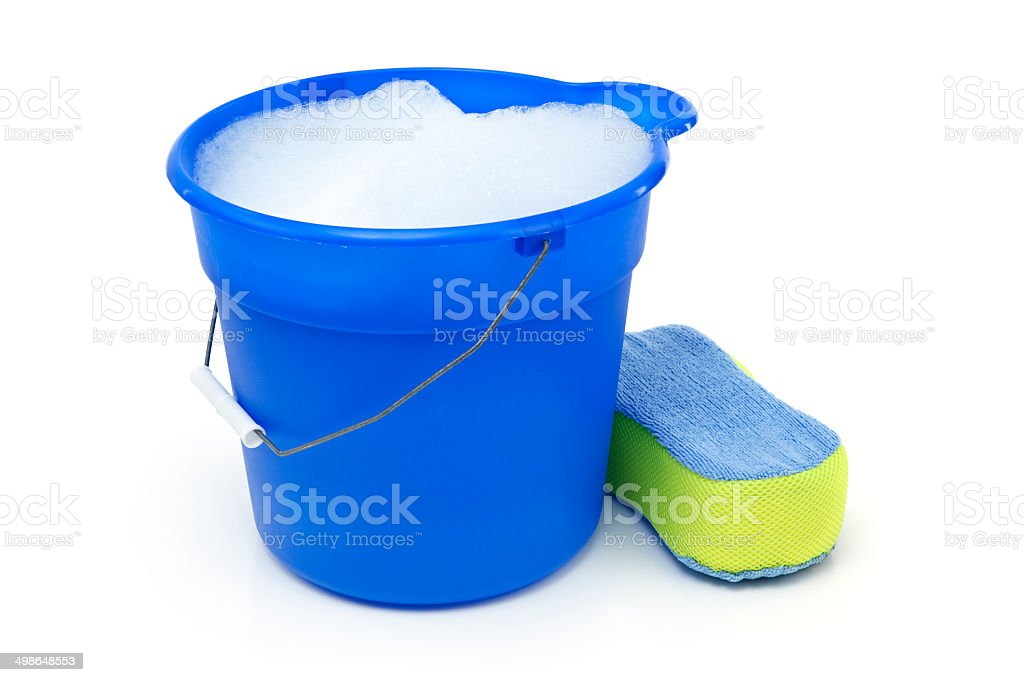 Cleaning Bucket and Sponge stock photo