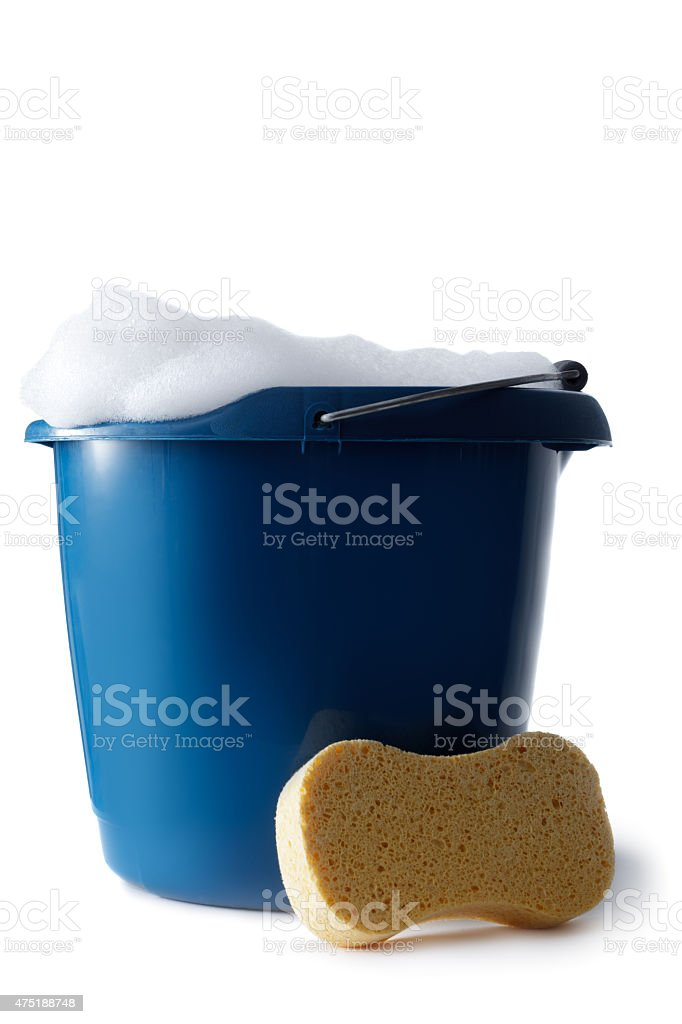 Cleaning: Bucket with Soap and Sponge Isolated on White Background stock photo