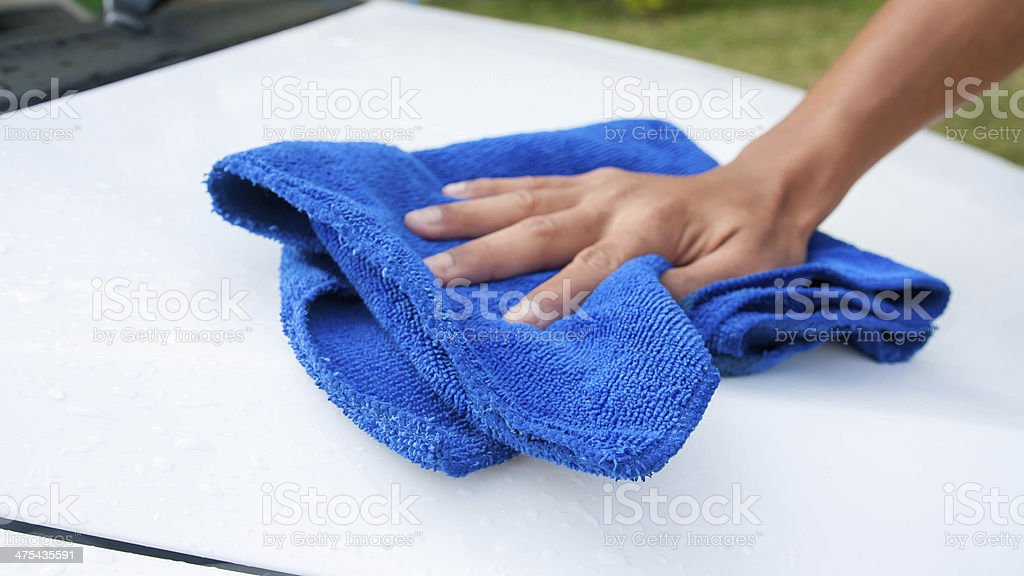 cleaning car using microfiber cloth royalty-free stock photo