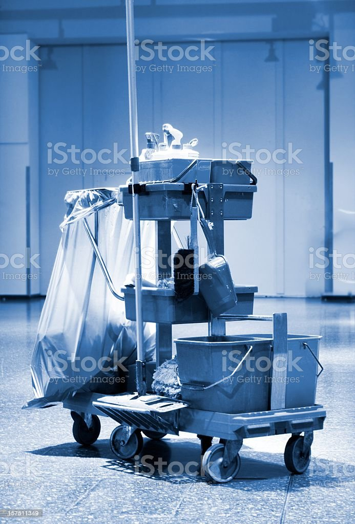 Cleaning cart and accessories stock photo