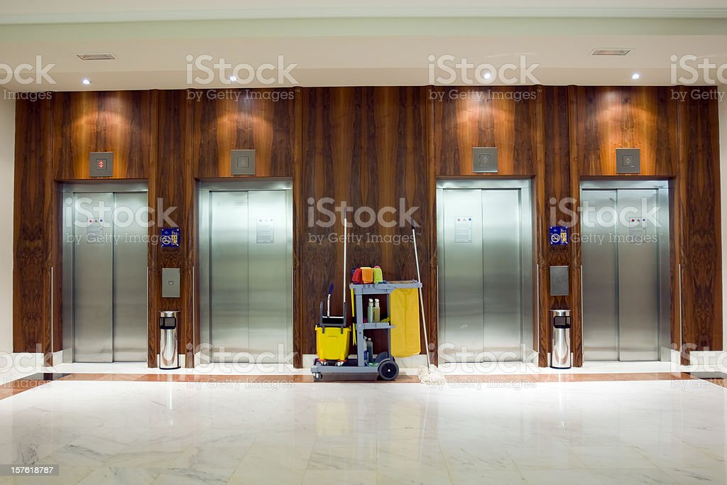 Cleaning Cart at the elevators stock photo
