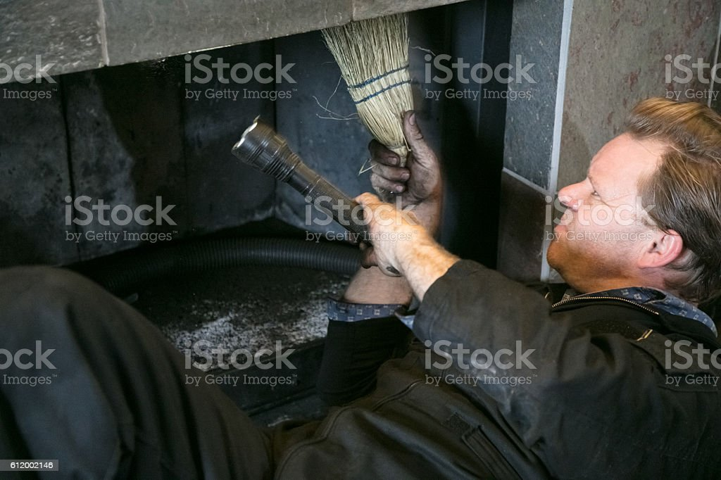 Cleaning Chimney stock photo