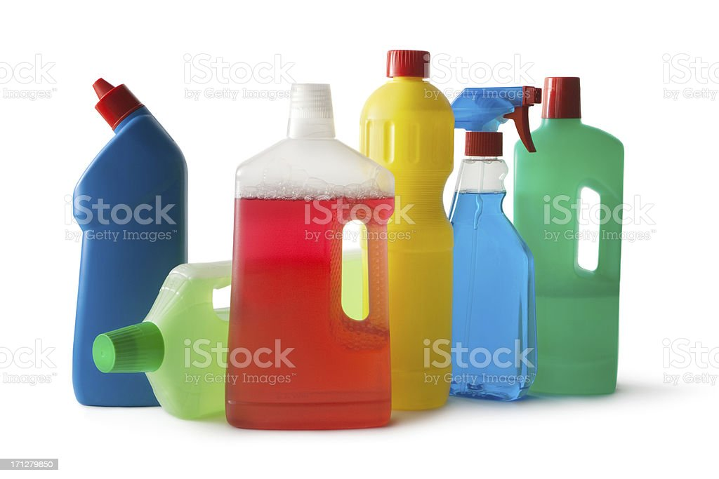 Cleaning: Cleaning Products Isolated on White Background stock photo