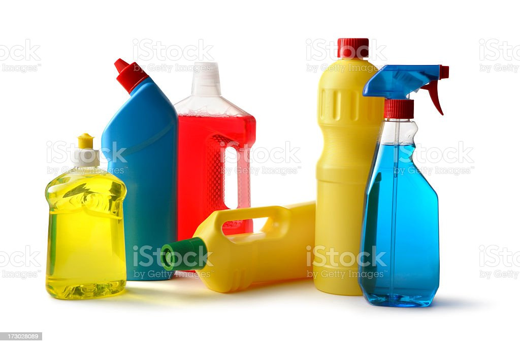 Cleaning: Cleaning Products Isolated on White Background royalty-free stock photo
