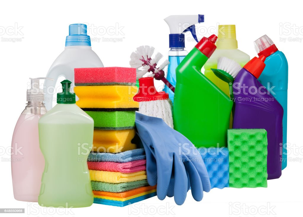 Cleaning concept.Bottles and chemical cleaning supplies isolated on white stock photo