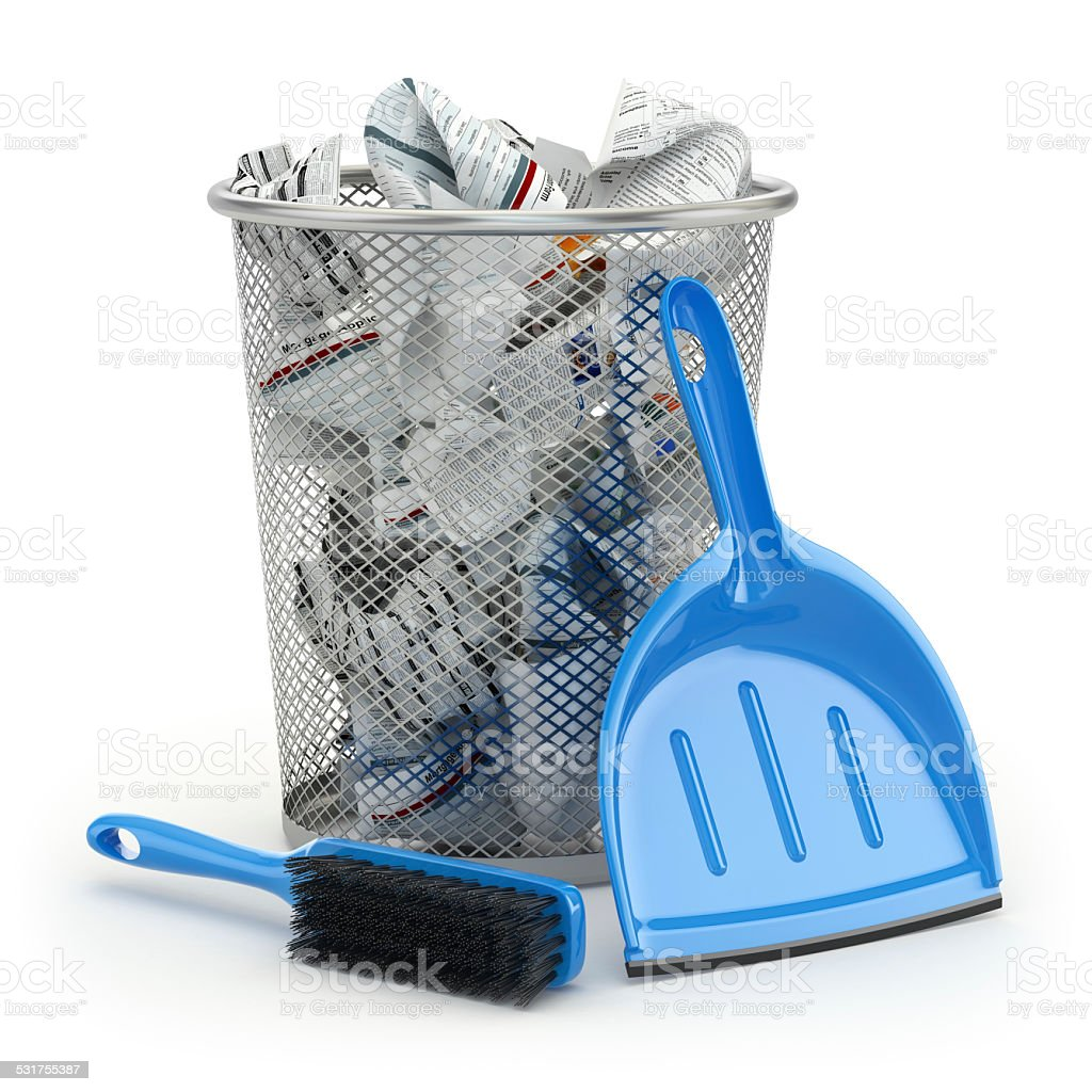 Cleaning concept.Garbage bin, dustpan or scoop and brush. stock photo