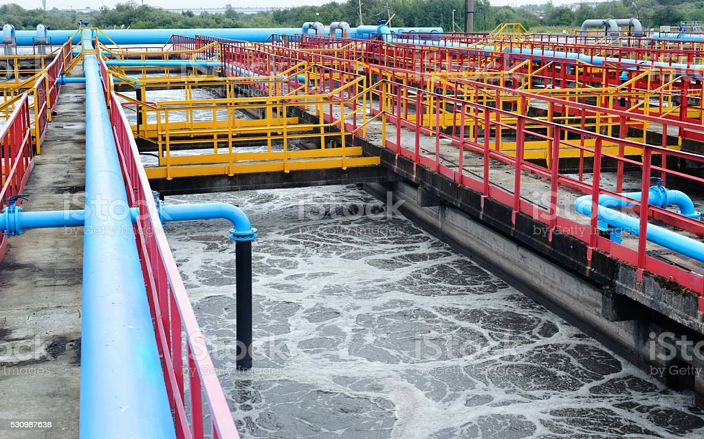Cleaning construction for a sewage treatment stock photo