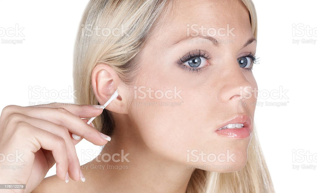 cleaning ears stock photo