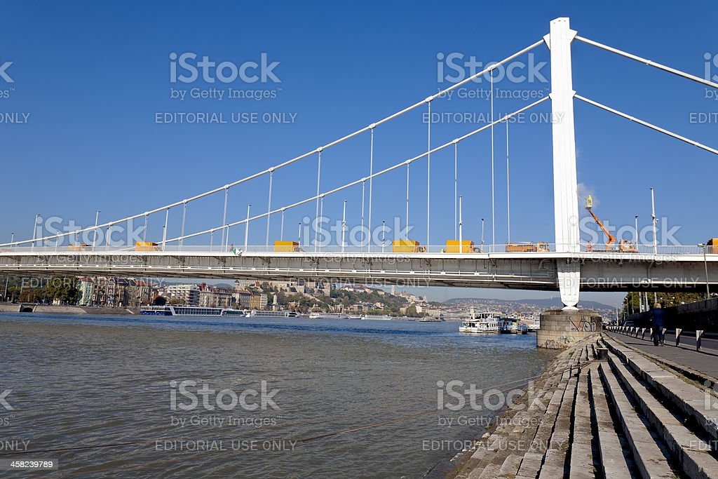 Cleaning Elizabeth Bridge in Budapest royalty-free stock photo
