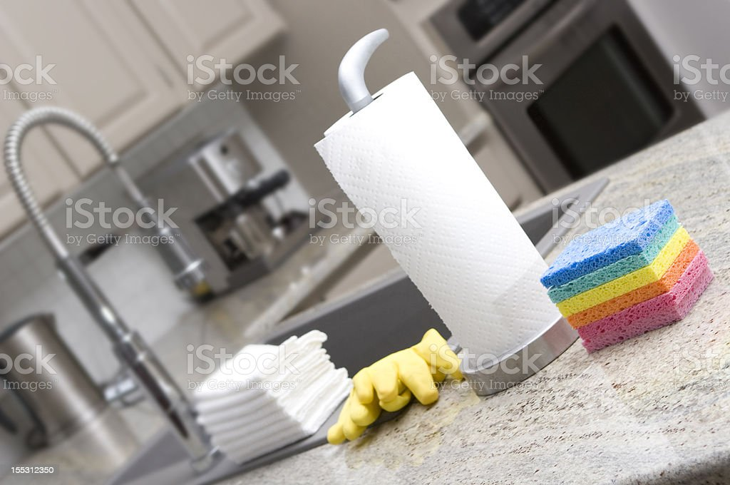 cleaning equipement in domestic kitchen royalty-free stock photo