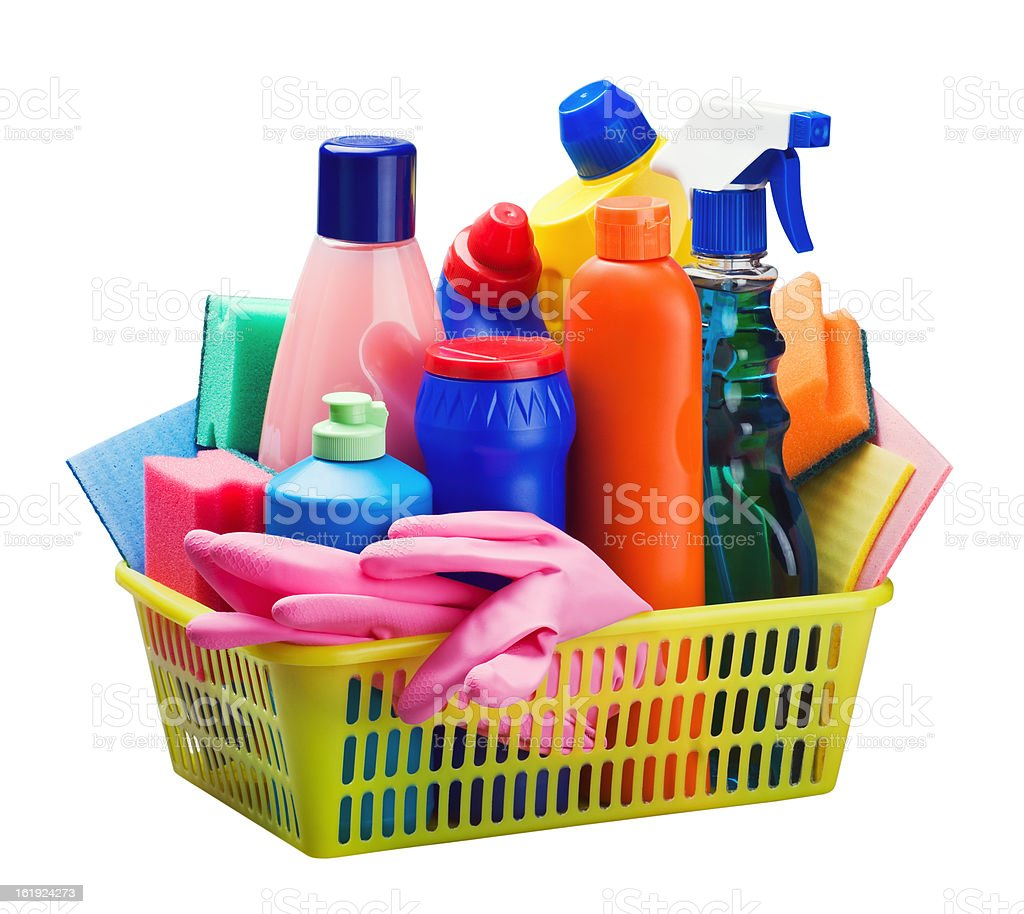cleaning equipment in the basket royalty-free stock photo