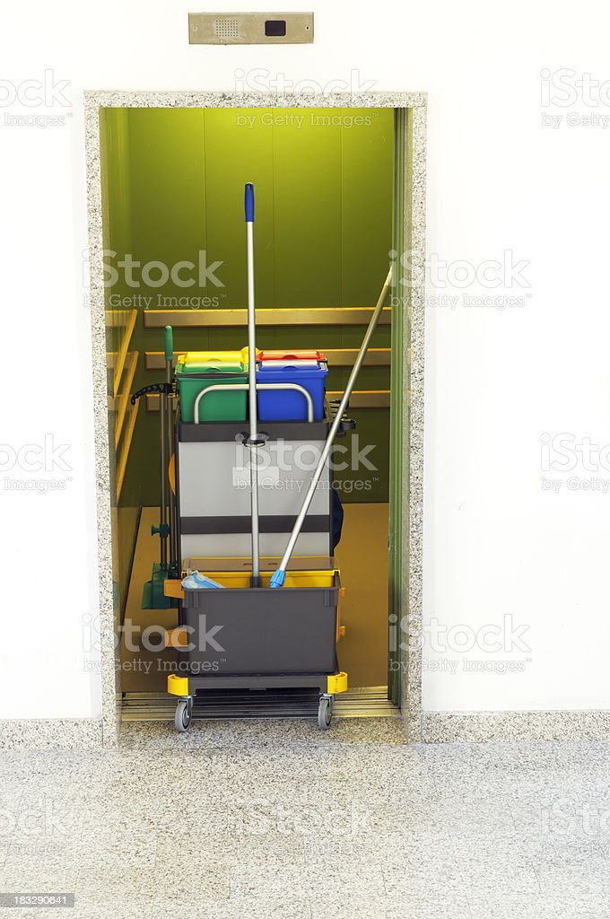 Cleaning Equipment inside an Elevator stock photo