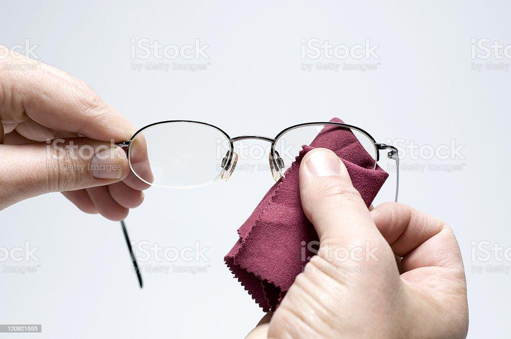 Cleaning Eyeglasses stock photo