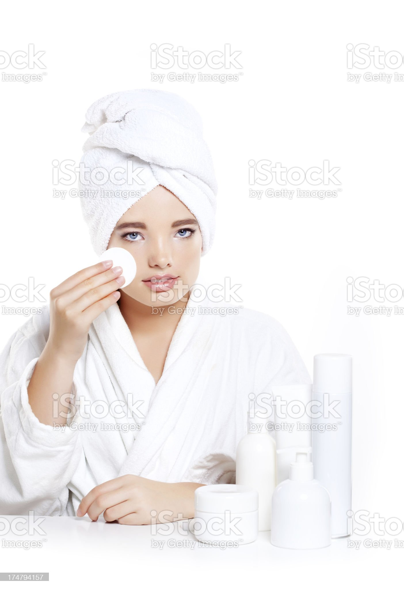 cleaning face teenager royalty-free stock photo