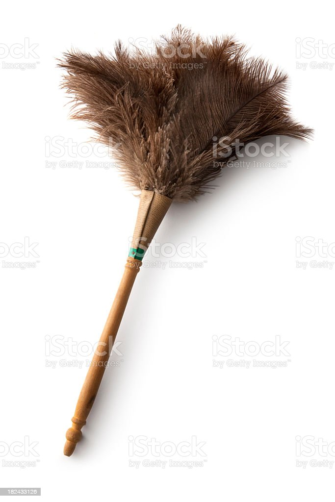 Cleaning: Feather Duster Isolated on White Background stock photo