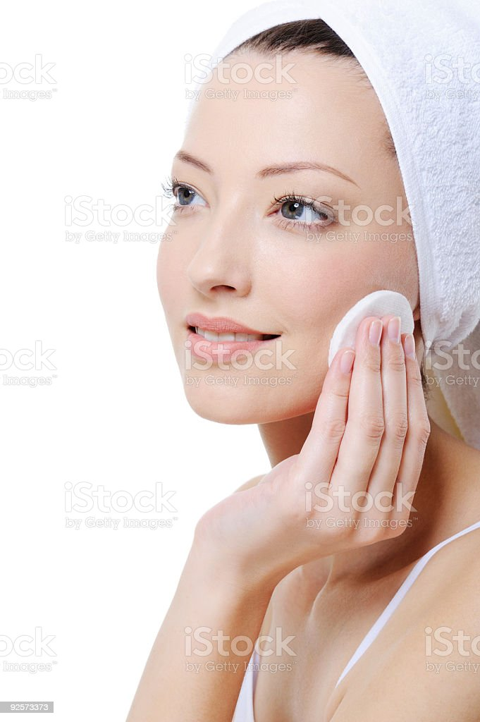 cleaning female face royalty-free stock photo