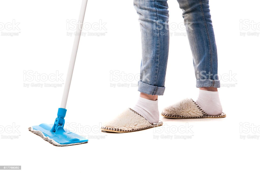 Cleaning floor with mop. stock photo