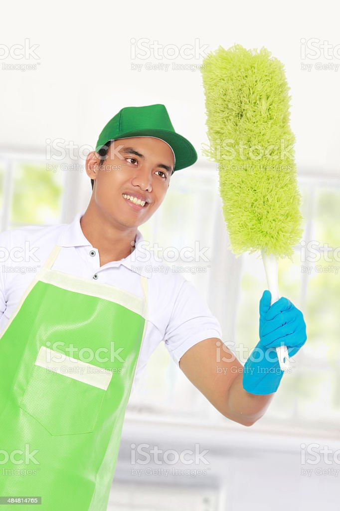 cleaning glass using Soft duster royalty-free stock photo