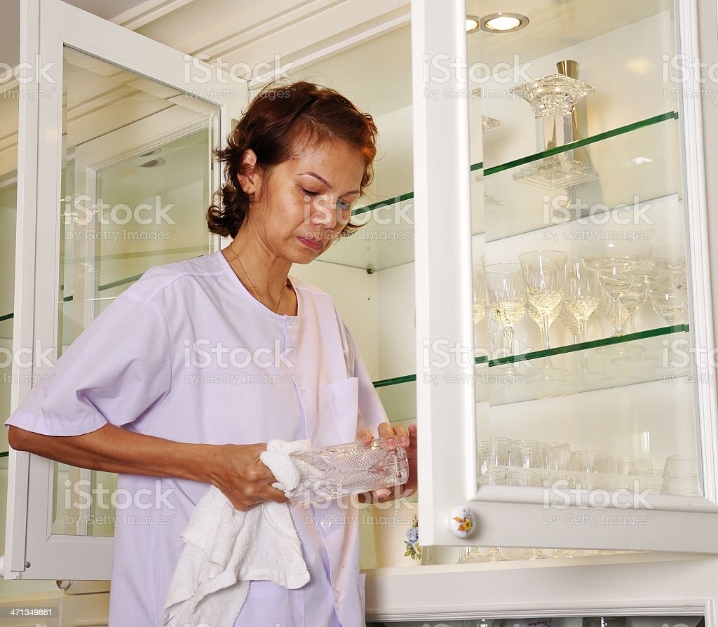 Cleaning glasses royalty-free stock photo
