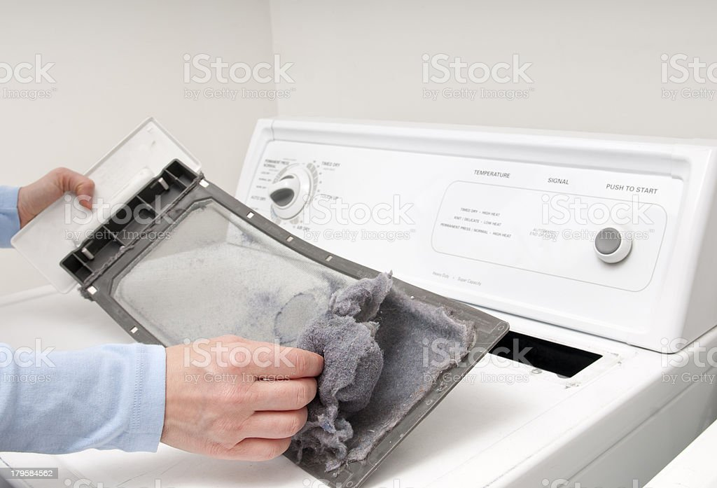Cleaning Lint Trap stock photo