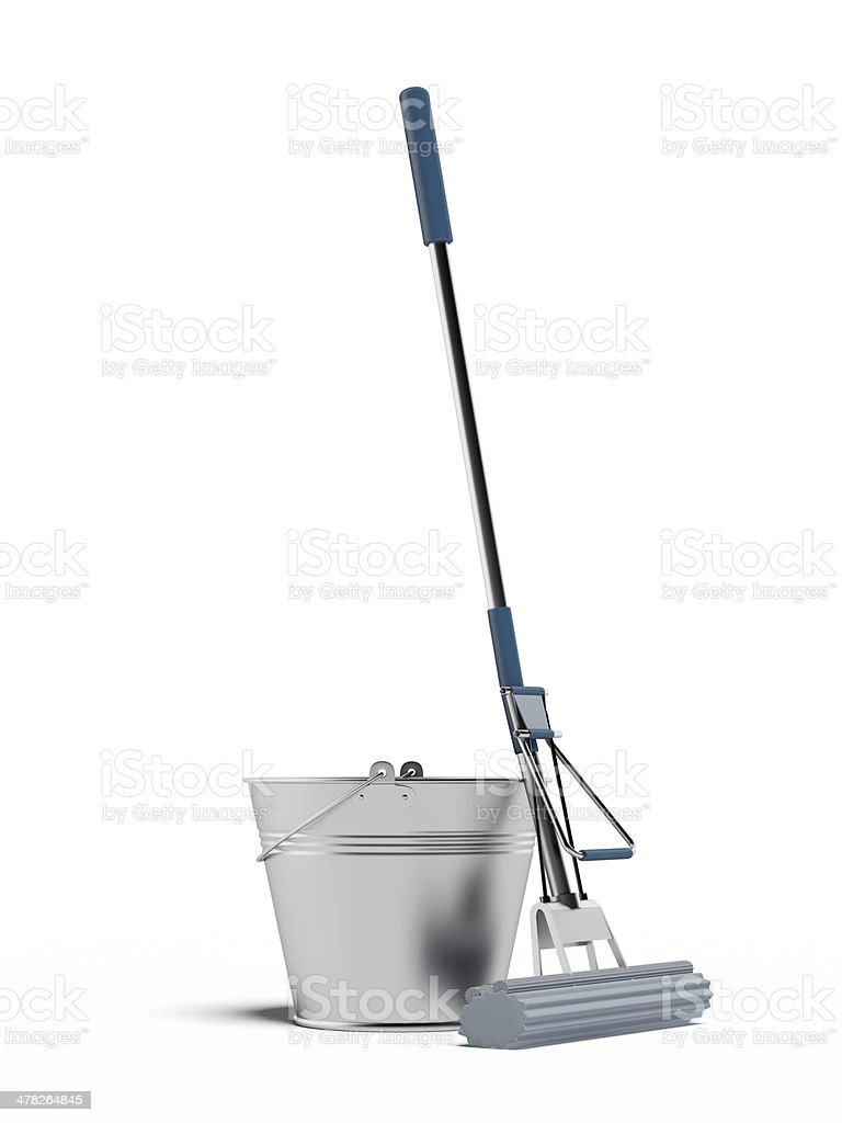 cleaning mop and bucket stock photo