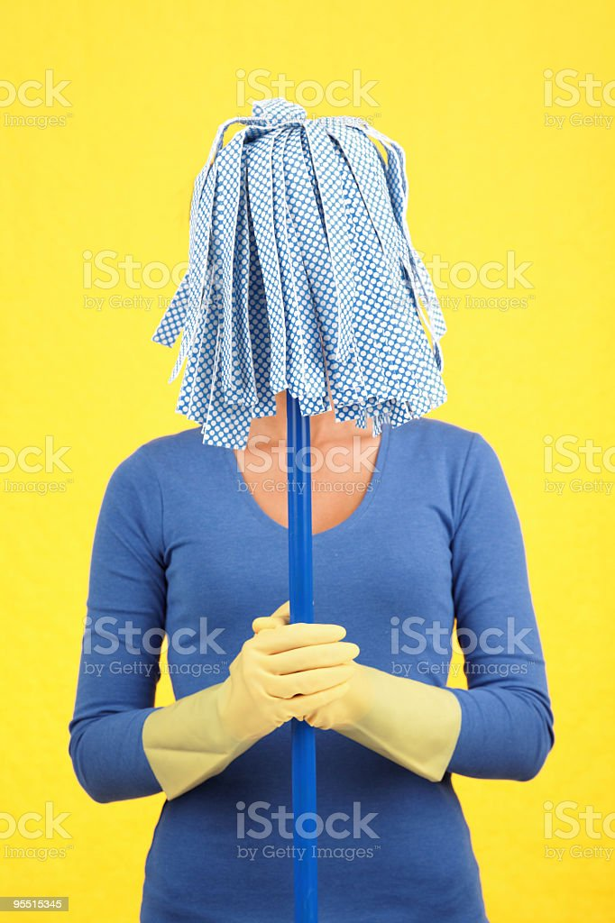 Cleaning mop woman - Humor concept royalty-free stock photo