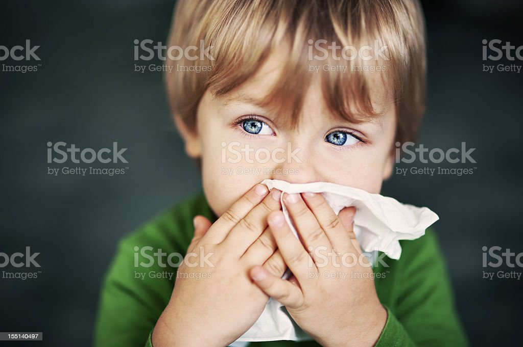 Cleaning nose stock photo