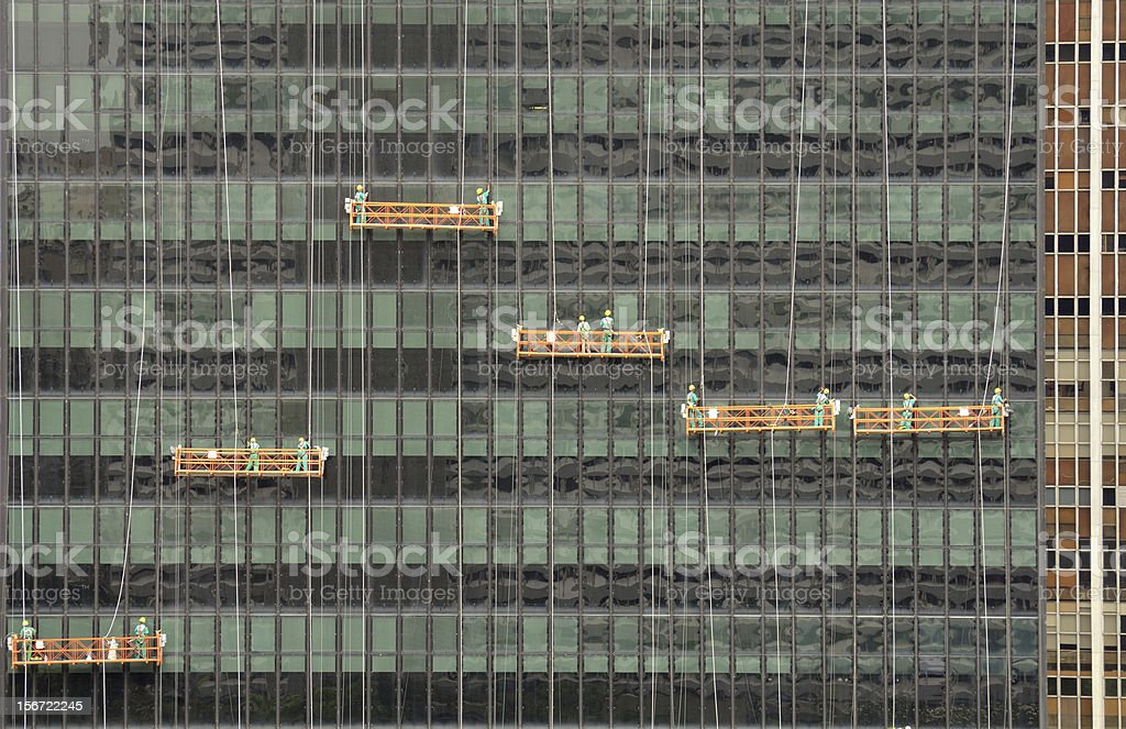 Cleaning of a Rio de Janeiro building royalty-free stock photo