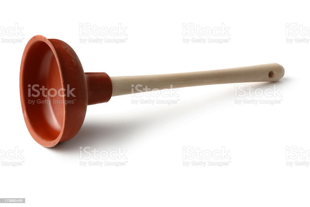 Cleaning: Plunger Isolated on White Background stock photo