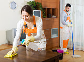 Cleaning premises team to work