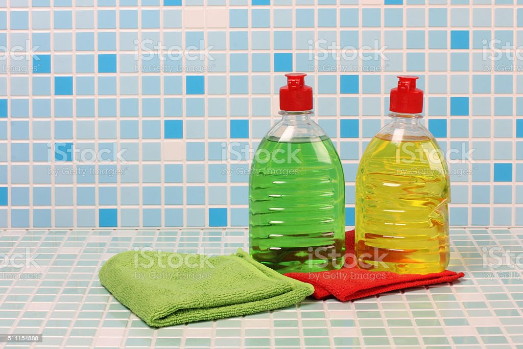 Cleaning products and soap stock photo