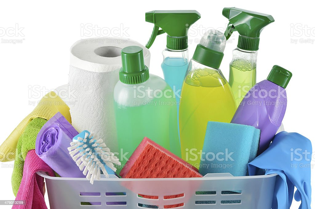 Cleaning products and supplies in a basket. stock photo