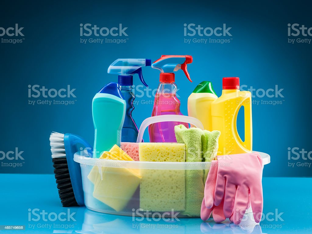 cleaning products and supplies stock photo