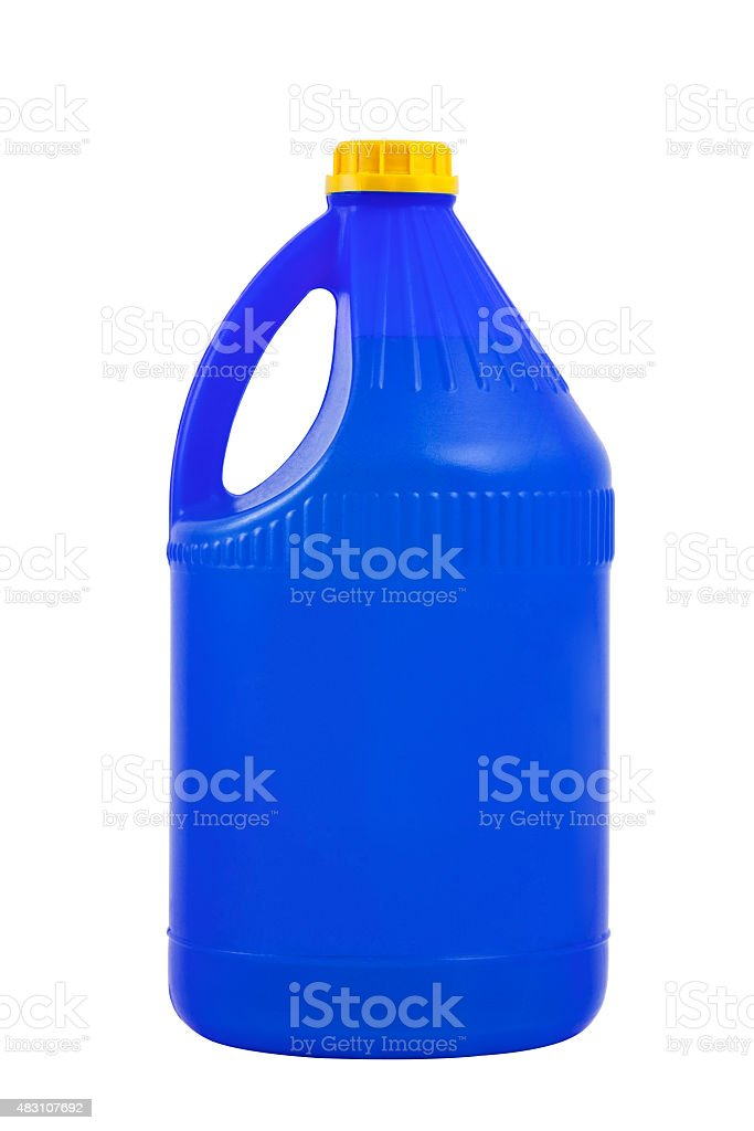 Cleaning products. Detergent plastic bottle isolated on white ba stock photo