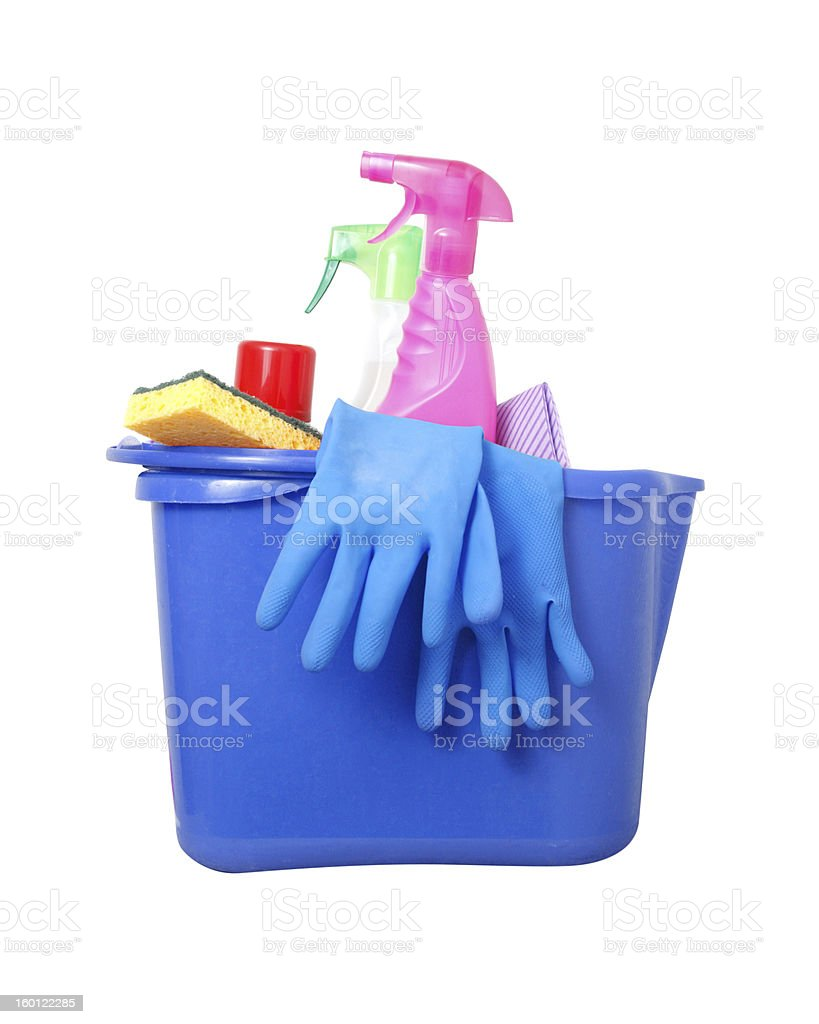 Cleaning products in a bucket stock photo