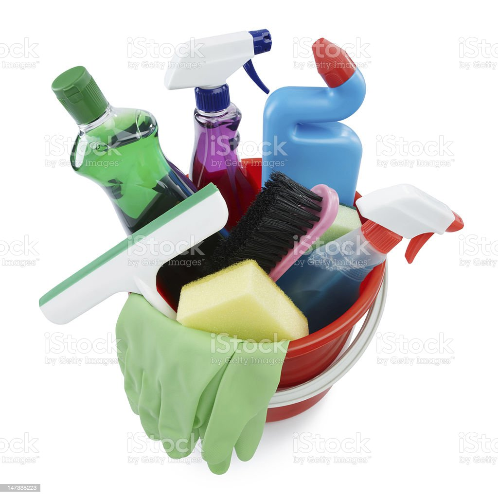 cleaning products in bucket stock photo