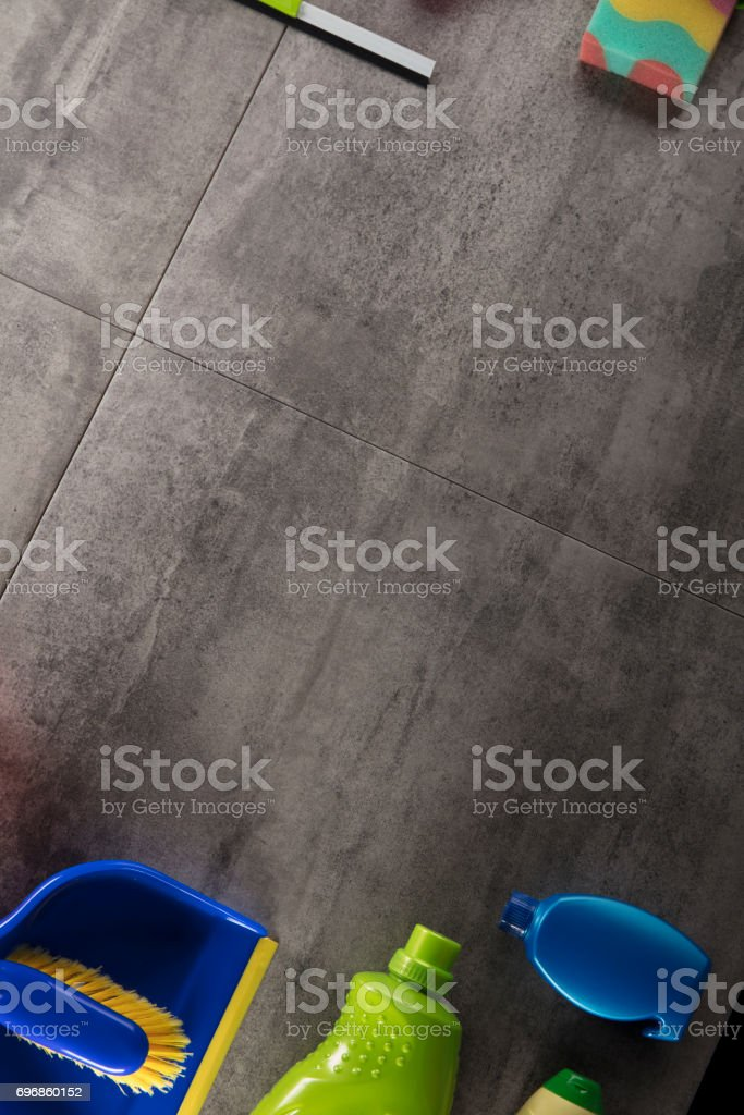 Cleaning products, top view stock photo