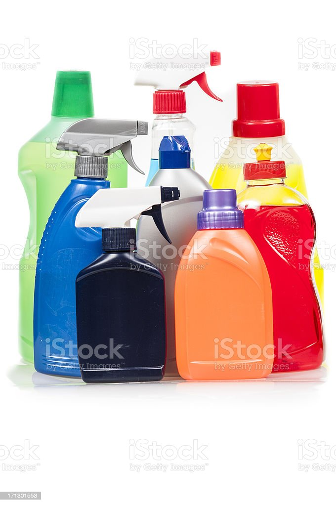 Cleaning products vertical composition stock photo