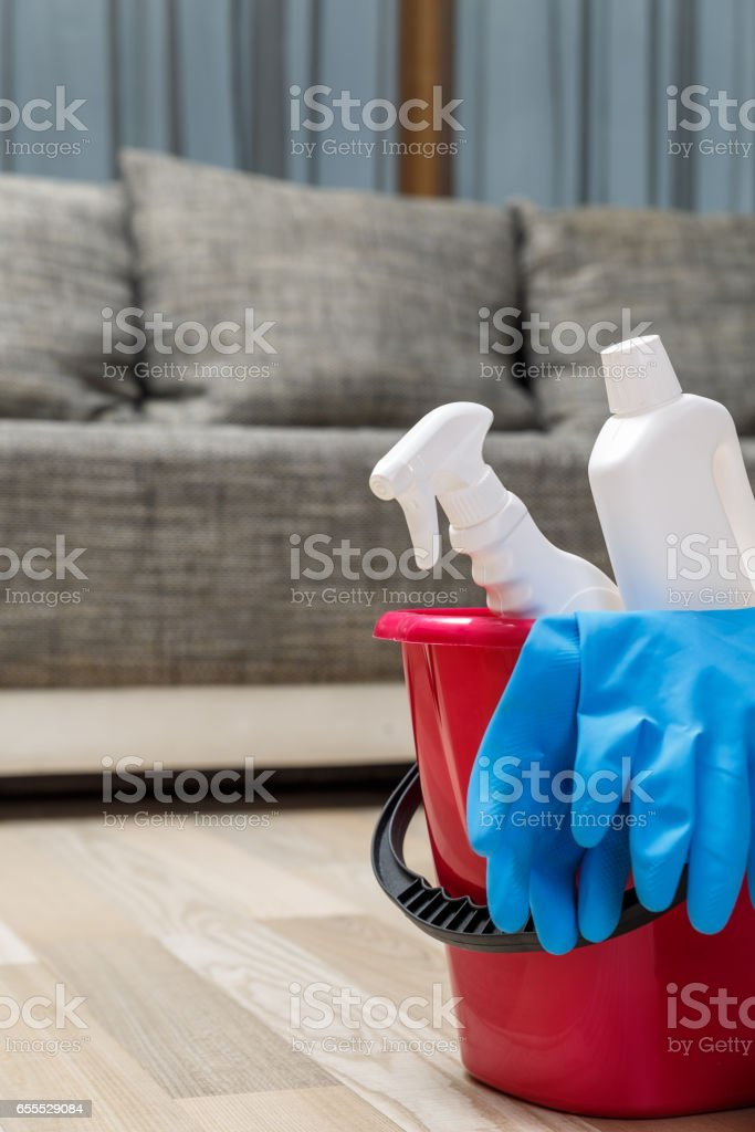 Cleaning service. Rubber gloves, chemicals. stock photo