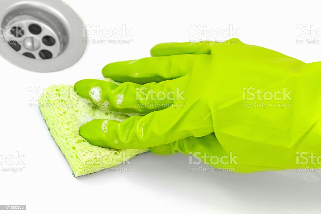 cleaning sinks stock photo