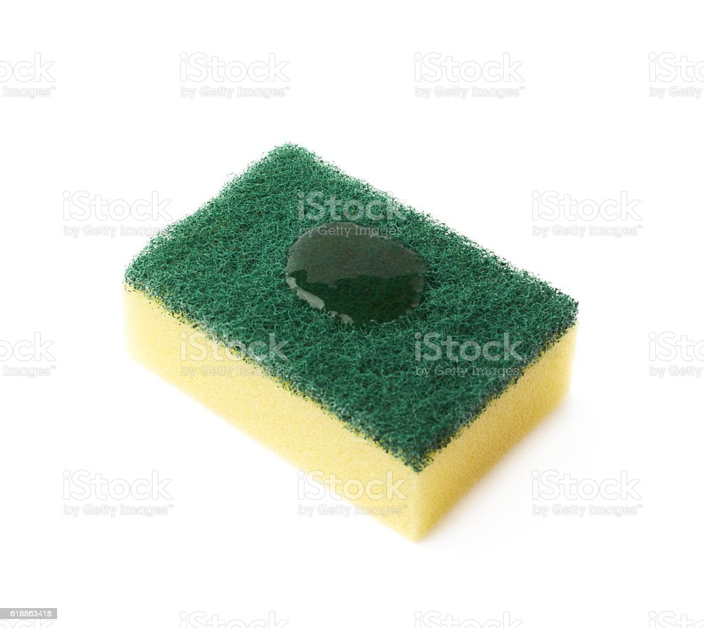 Cleaning sponge with detergent drops stock photo